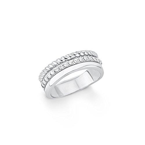 s.Oliver Damen-Ring 7,4 mm 925 Silber rhodiniert Zirkonia weiß Gr. 52 (16.6) - 567015