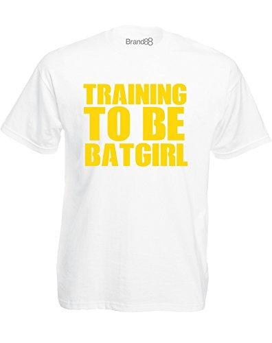 Brand88 - Training To Be Batgirl, Mann Gedruckt T-Shirt Weiß/Gelb