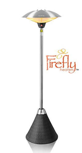 Firefly 2.1m Freestanding Electric Patio Heater with Black Rattan Base
