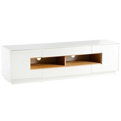 Alpisedia ABSO - Meuble TV Blanc Decor Bois 40 x 45 x 160 cm