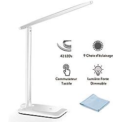 Lampe de Bureau LED, TOPELEK 42 LED Lampe de Chevet Tactile Flexible 5V Adaptateur Chargeur 3 Modes de Couleur 3 Niveaux de Luminosité Soin des Yeux Lampe de Table pour Travail, Lecture - Blanc