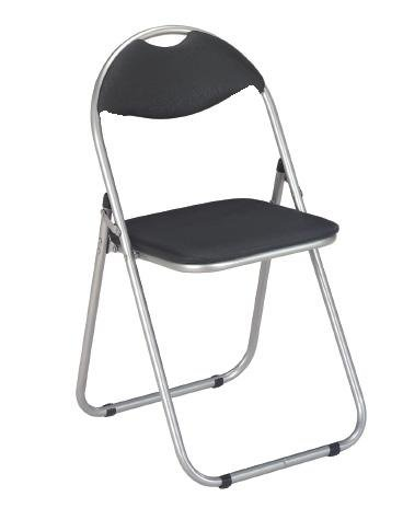 New 6 x Simple Black And Silver Steel Folding Foldable Chair