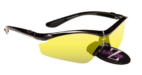 Rayzor professionali leggeri UV400 Nero Sport Wrap Running da sole, con un 1 pezzo trasparente Giallo Lens Migliorare Luce.