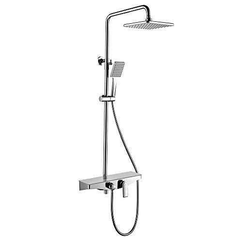 KAIBOR Luxuriös Duschsystem mit Großer Ablage, Dusche Regendusche Duschset mit Kopfbrause 26x19 cm, Handbrause und Höhenverstellbar Duschstange, Verbrühschutz