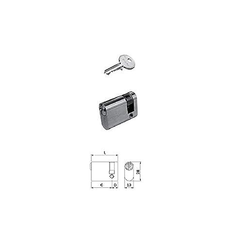 Iseo 830027093F5Cylindre décentralisé ovale petit 36mm 27–9monoprofilo 13x 28mm laiton nickelé brillant Clé 5fiches 3clés incluses