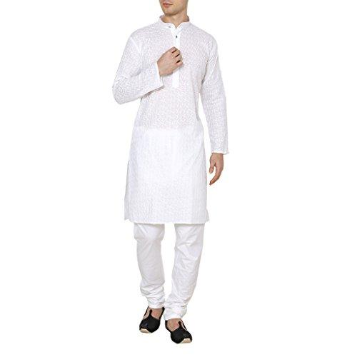 Royal Men's Lucknowi White Chikan Embroidery Kurta Churidar -