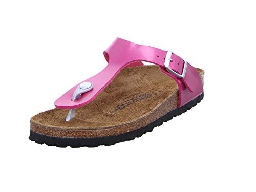 BIRKENSTOCK Gizeh Damen Zehentrenner Kork,Frauen,Glanz,Sandale, spiegelnd, farbintensiv,Electric Metallic Magenta,39 Damen Pink Leder