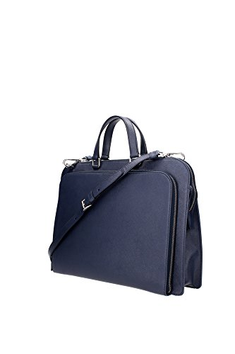 VR0078BALTICO Prada Serviettes Homme Cuir Bleu Bleu