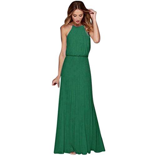 Damen Maxikleider, Kanpola Frauen Elegant Unterhemd Kleider Ärmellose Neckholder Midi Kleid Tunika...