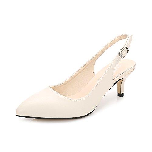 OCHENTA Zapatos de Tacón Clásicos Espigones con hebillas y Tiras EN La Parte Trasera Para Mujer PU Beige EU 40