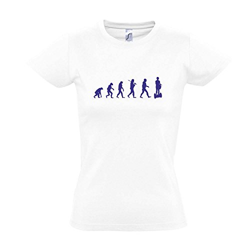 Damen T-Shirt - EVOLUTION - Segway Sport FUN KULT SHIRT S-XXL White - blau