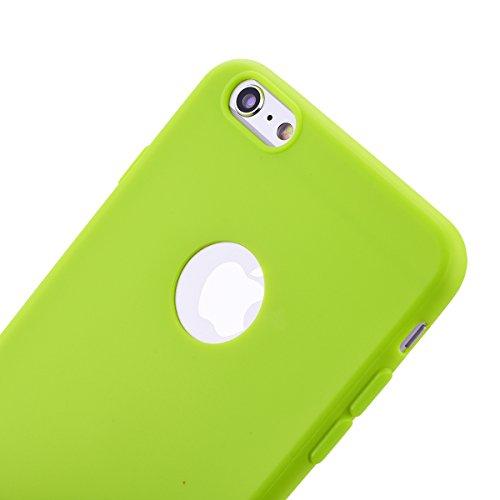 HB-Int 3 in 1 Custodia per Apple iPhone 6 / 6S ( 4.7 pollici ) Nero Gomma TPU Gel Silicone Case Flessibile Morbido Shell Custodia Fashion Design Caso Ultra Sottile Leggera Copertura Anti Graffi Resist Verde