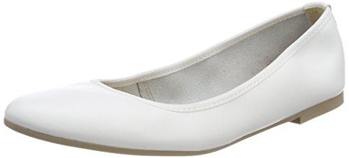 Tamaris Damen 22128 Geschlossene Ballerinas, Weiß (White Leather), 40 EU