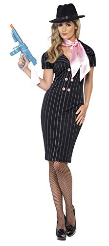 Smiffys, Damen Gangsterbraut Kostüm, Nadelstreifen-Bleistiftkleid und Halstuch, Größe: L, 23697 (Dressing Halloween-kostüm Ideen, Ohne Up)