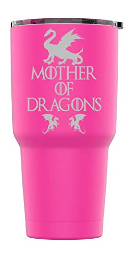 Stainless Steel Powder Coated 30 oz Tumbler Splash Proof Lid 2 Straws, Triple Wall Vacuum Insulated, Mug Coffee Cup Travel, Camping, Work, Gym Hot Cold Drinks (Pink, Mother Of Dragons) Wall Insulated Travel Mug