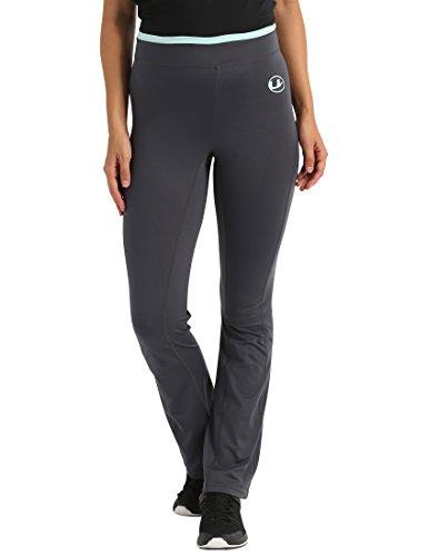 Ultrasport Damen Fitness-Hose antibakteriell, lang, Jogginghose mit Quick-Dry-Funktion, elastische trageangenehme Sporthose, Schwarz/Mint Grün, XL