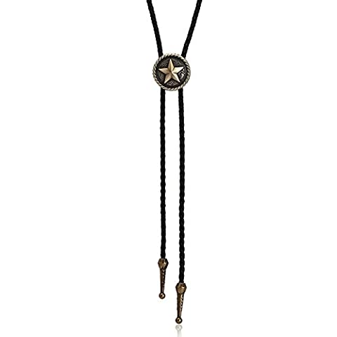 Epinki Round Shield with Star Cross Circle Bolo Tie Gold Pendant Adjustable Leather Cord Mens