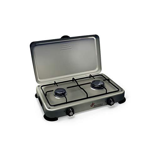Plaque de cuisson gaz portable 2 feux 3200 W SILVER 2...