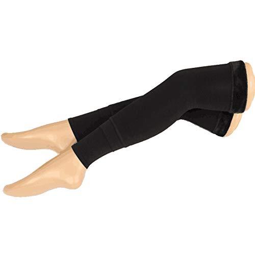 1 Paar Schwarze Frauen Dicke Plüsch Winter Thermo Wärmer Fleece Warm Over Knie Hohe Footless Lange Socken Knieorthese Stützhülse Pads Kniescheibe Oberschenkel Hohe Strümpfehe Strümpfe (Über Knie-bein-wärmer)