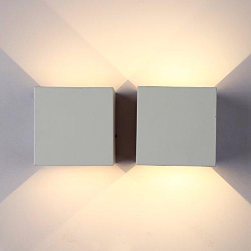 Topmo 2 pezzi 7w da parete a LED bianco caldo 2700K lampada da parete di Kelvin qualità alluminio Lampada Esterna da parete Su e Giù design IP65 bianco