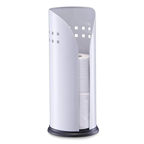 Zeller 18705 Toilettenrollenhalter, weiß, Metall, ca. 14,5 x 14,5 x 34,5 cm