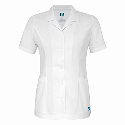 Adar Universal Lapel Collar Buttoned Top - 2629 - White - S (Petite Uniform Flare)