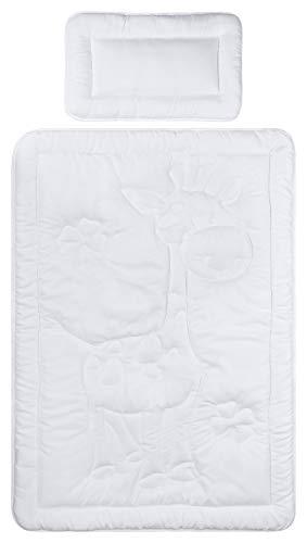 Aminata Kids Kinder Bett-Decken-Set 100x135 cm Bett-Decke 100x135 cm Kopf-Kissen 40x60 cm Stepp-Bett Giraffe warm-e Sommer Winter Bett-Set Schlafdecke Baby Mädchen Jungen
