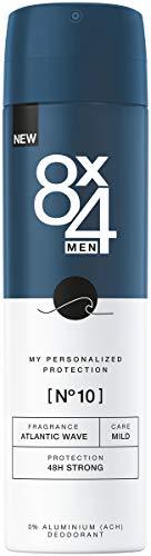 8X4 Men Deo Spray N°10 Atlantic Wave im 1er Pack, 1 x 150ml, Herren Deodorant mit maritim-holzigen Duft, 48h zuverlässiges Deo ohne Aluminium für jeden Hauttyp