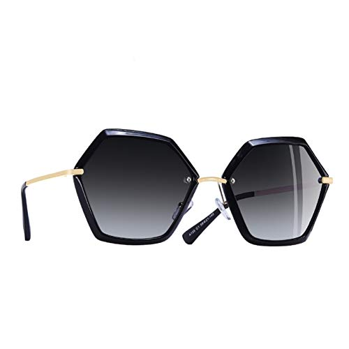 Taiyangcheng Sonnenbrille Frauen Hexagon Frame Damen Polarisierte Sonnenbrille Weibliche Brille Uv400,C1Gray