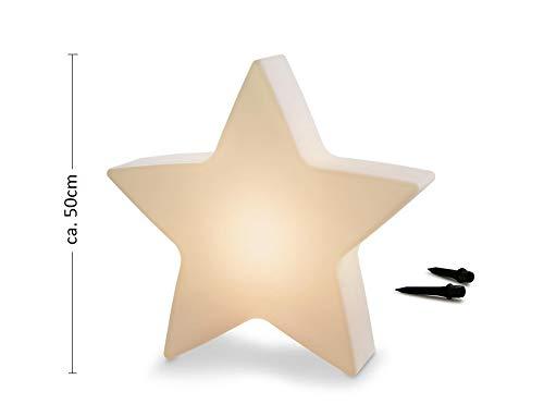 LED Gartenleuchte Solar Stern Shining Star (Höhe 50 cm, Dämmerungssensor, Solarmodul, warmweiß, Außenbeleuchtung, Innenbeleuchtung,Outdoor, Weihnachten) weiß
