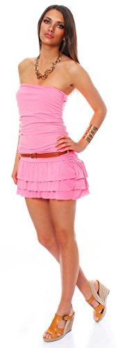 10013 Fashion4Young Damen Minikleid in Bandeau-Optik Kleid dress mit Gürtel verfügbar in 5 Farben Neonpink