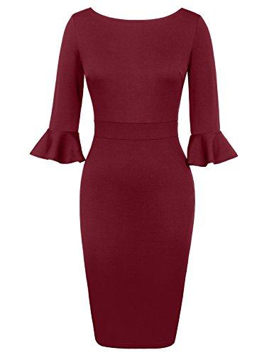 GRACE KARIN 3/4 ärmel businesskleid elegant etuikleid Damen Schlitz Kleid Moderne Kleid XL CL64-2