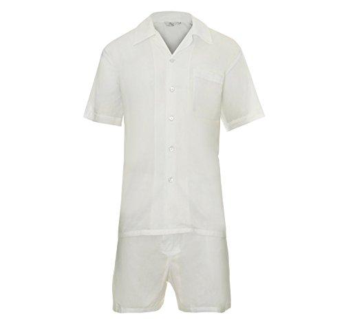 Herren Zweiteiliger Schlafanzug Anzug Kurz, Nachtwäsche Klassisches Maßgeschneidertes Modell in Schwarz - Blau - Weiß Baumwolle Geschenk Boxed Größe S - XL (Klassische, Anzug Maßgeschneiderte)
