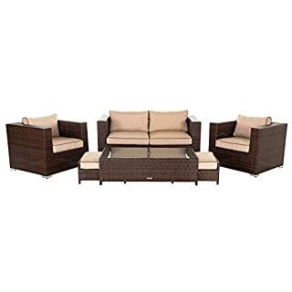 Rattan Garden Furniture, 6 Piece Ascot 2 Seater Sofa Set inc FREE Luxury Outdoor Covers in Brown