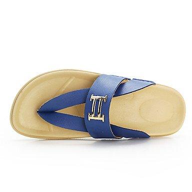 Sandales d'été Chaussures hommes sandales tongs dehors / Chaussons en cuir décontracté bleu royal / Marine / Orange Orange