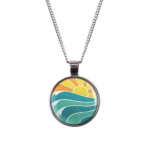 Mylery Hals-Kette mit Motiv Sonnen-Untergang Strand Wellen Retro Silber 28mm