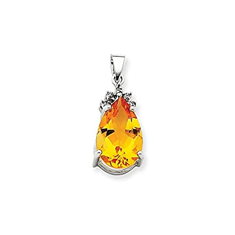 14k White Gold Citrine & Diamond