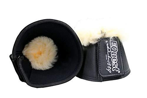 EQuest Neopren Hufglocken mit medizinischem Lammfell in verschiedenen Größen (schwarz oder weiß) (XL, schwarz | natur)