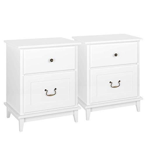 HOMECHO 2er Set Nachttische Nachtschrank in Weiß Große Bettkommode aus Holz mit 2 Schubläden für Schlafzimmer Wohnzimmer Büro 50 * 34.5 * 60.5cm (Groß Nachttische Schlafzimmer-set Von 2)
