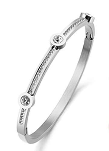 AieniD Bracciale X Charm Acciaio Argento Cubic Zirconia Braccialetto per Donne Size:6X0.4CM