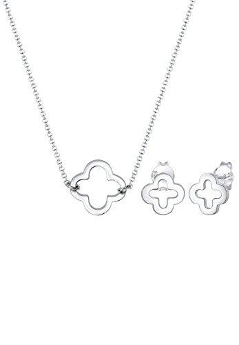 Elli Damen Echtschmuck Schmuckset Halskette Kette Ohrringe Stecker Kleeblatt Glücksbringer in 925 Sterling Silber 40 cm Länge