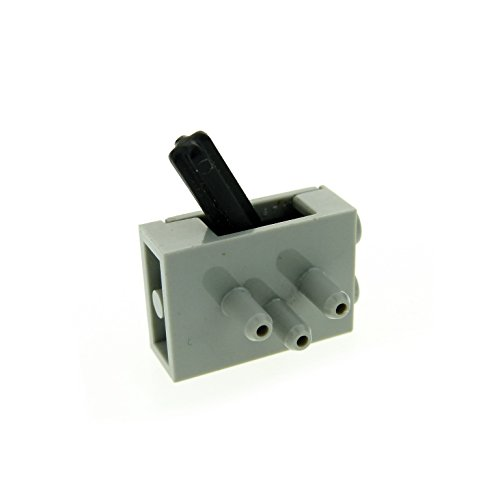 Preisvergleich Produktbild 1 x Lego Pneumatik Technic Pneumatic Schalter Ventil alt-hell grau 3 Wege Umschaltventil Switch lange Stutzen Luft Druck 4694c01