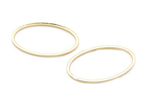 Vintageparts ovaler Ring als Verbinder aus Messing in vergoldet 2 Stück zum Schmuck selber Machen, nähen und basteln