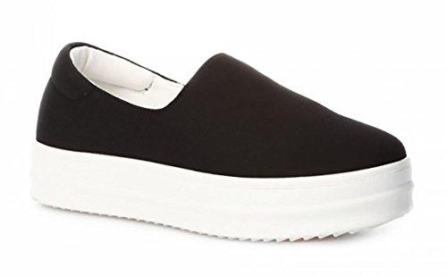 Schuhzoo - Damen Slipper Sneaker Freizeitschuhe Halbschuhe Elastisch Schwarz Pink Orange Weiß Größe 36 37 38 39 40 41-Schwarz-37