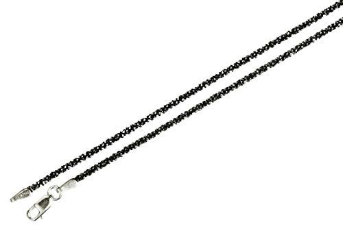 Criss-Cross-Kette aus 925 Sterling Silber geschwärzt diamantiert außergewöhnliches Geflecht SILBERMOOS Qualitätskette aus Italien 42 45 50 60 70 80 90 cm, Länge:50 cm (Geschwärzter Sterling Silber)