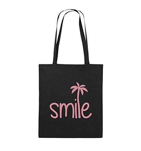 Comedy Bags - smile - PALME - Jutebeutel - lange Henkel - 38x42cm - Farbe: Schwarz / Silber Schwarz / Rosa