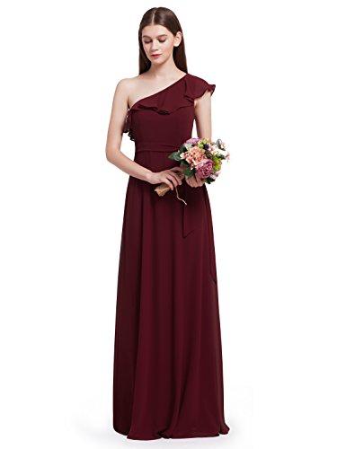 One-shoulder-kleid (Ever Pretty Damen Elegant One Shoulder Rüschen Oblique Brautjungfern Kleid 38 Größe Burgundy)