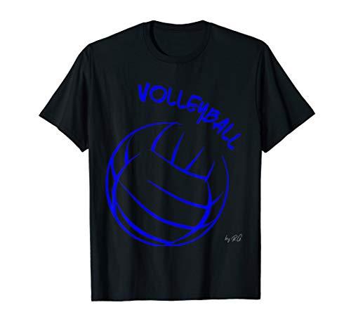 Volleyball Spieler Motiv T-Shirt -blue print