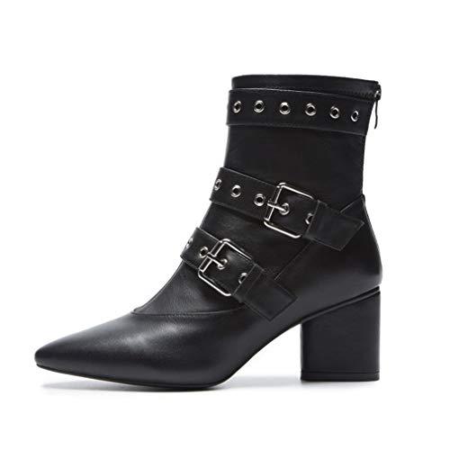 YAN Damen Ankle Boots, Mode Nieten Stiefel Leder Spitze Rough High Heels Kleid Schuhe Hochzeit & Abend Formelle Schuhe (Farbe : EIN, Größe : 34) -