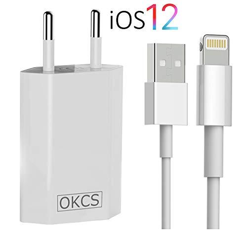 OKCS Ladeset [USB Ladekabel mit Netzteil 1000 mAh] 1 Meter kompatibel für iPhone XS, XR, XR Max, X, 8, 8 Plus, 7, 7 Plus, iPad 4, Pro, Mini, 2 - in Weiß